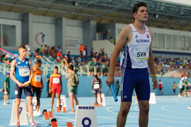Adrian Baran na štarte štafety 4x100m, Európsky olympijsky festival mládeže, Piatok, 31. Júla 2015, Tbilisi, Gruzínsko
