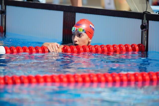 Barbora Tomanová po pretekoch spôsobu znak, Európsky olympijsky festival mládeže, Pondelok, 27. Júla 2015, Tbilisi, Gruzínsko