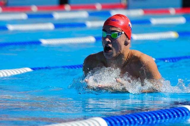 Dávid Bartáky na plávaní počas Európskeho olympijskeho festivalu mládeže, Streda, 29. Júla 2015, Tbilisi, Gruzínsko