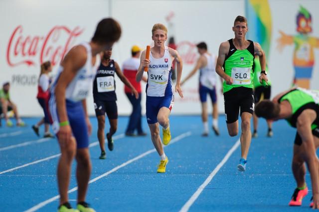 Jakubom Benda počas štafety 4x100m, Európsky olympijsky festival mládeže, Piatok, 31. Júla 2015, Tbilisi, Gruzínsko