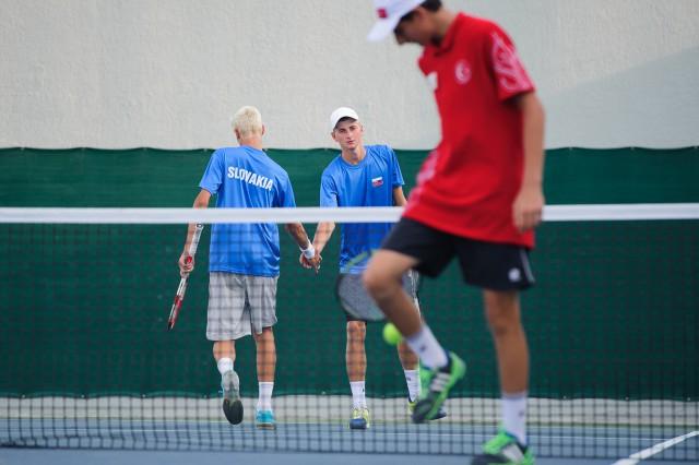 Kevin Kurtin, Dávid Čierny počas štvorhry v tenise, Európsky olympijsky festival mládeže, Utorok, 28. Júla 2015, Tbilisi, Gruzínsko
