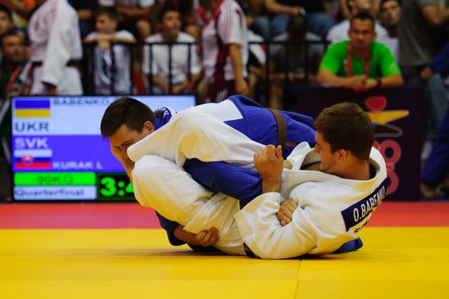 Lukáš Kurák počas zápasu v džude, Európsky olympijsky festival mládeže, Sobota, 1. Augusta 2015, Tbilisi, Gruzínsko