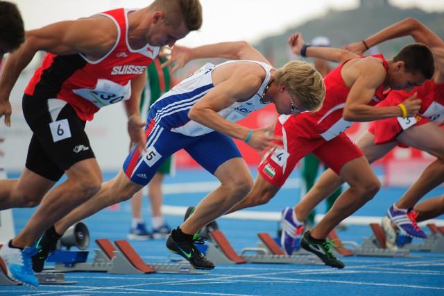 Marcel Žilavý po štarte behu na 100m, Európsky olympijsky festival mládeže, Pondelok, 27. Júla 2015, Tbilisi, Gruzínsko