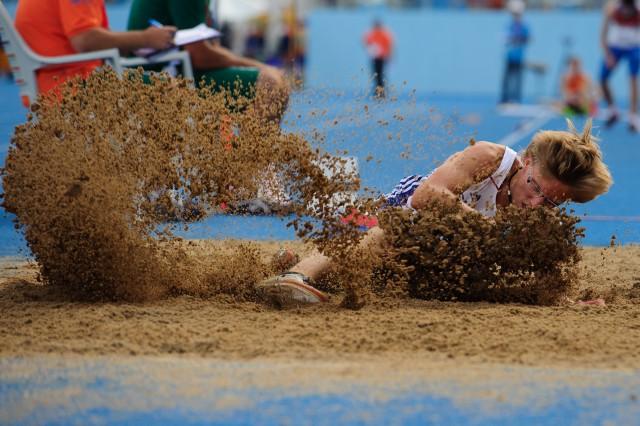 Marcel Žilavý počas kvalifikácie skoku do diaľky, Európsky olympijsky festival mládeže, Pondelok, 27. Júla 2015, Tbilisi, Gruzínsko