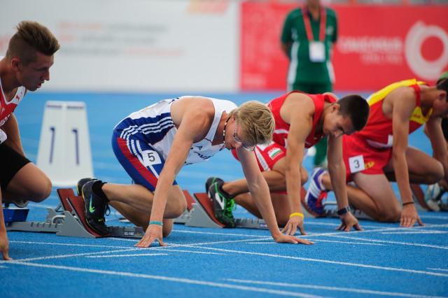 Marcel Žilavý pred štartom behu na 100m, Európsky olympijsky festival mládeže, Pondelok, 27. Júla 2015, Tbilisi, Gruzínsko
