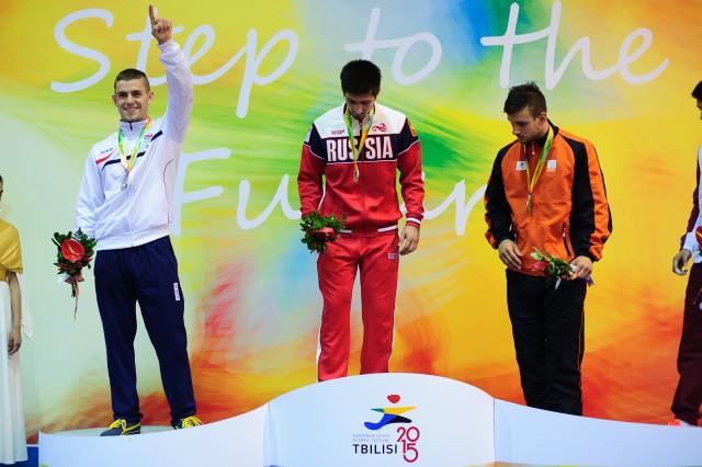 Miroslav Kopiš počas dekorácie medailou, džudo, Európsky olympijsky festival mládeže, Piatok, 31. Júla 2015, Tbilisi, Gruzínsko