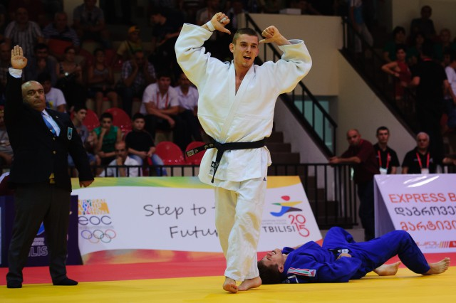 Miroslav Kopiš počas zápasov džuda, Európsky olympijsky festival mládeže, Piatok, 31. Júla 2015, Tbilisi, Gruzínsko