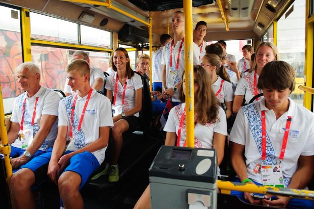 Odchod slovenskej delegácie na otvárací ceremoniál  Európskeho olympijskeho festivalu mládeže, Pondelok, 27. Júla 2015, Tbilisi, Gruzínsko