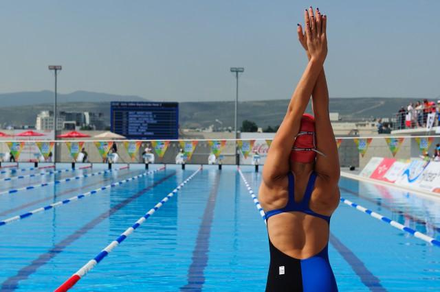 Robin Reindl pred štartom rozplavieb, Európsky olympijsky festival mládeže, Pondelok, 27. Júla 2015, Tbilisi, Gruzínsko