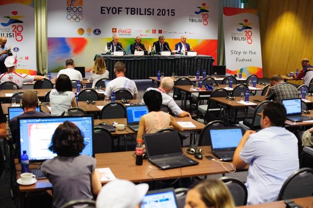 Tlačová beseda k ukončeniu Európskeho olympijskeho festivalu mládeže, Sobota, 1. Augusta 2015, Tbilisi, Gruzínsko