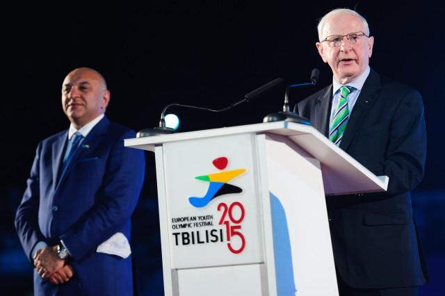 Úvodný príhovor počas otváracieho ceremoniálu Európskeho olympijskeho festivalu mládeže, Pondelok, 27. Júla 2015, Tbilisi, Gruzínsko