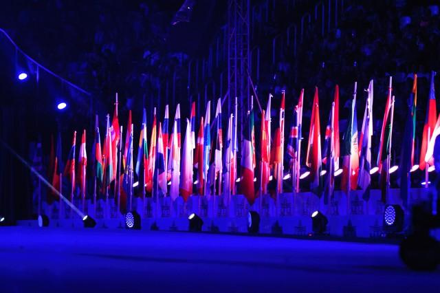 Vlajky zúčastenených štátov Európskeho olympijskeho festivalu mládeže, Pondelok, 27. Júla 2015, Tbilisi, Gruzínsko